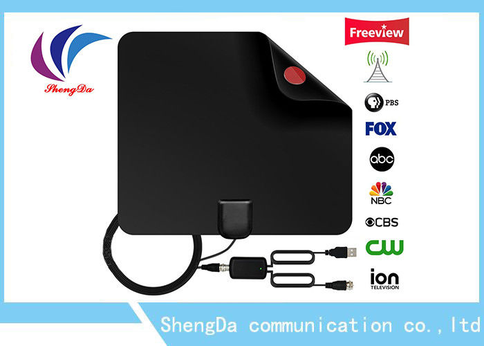 Flat Indoor Digital TV Antenna , UHF / VHF High Definition TV Antenna With Amplifier supplier